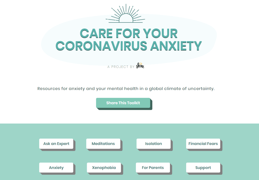 Screenshot of homepage of www.virusanxiety.com