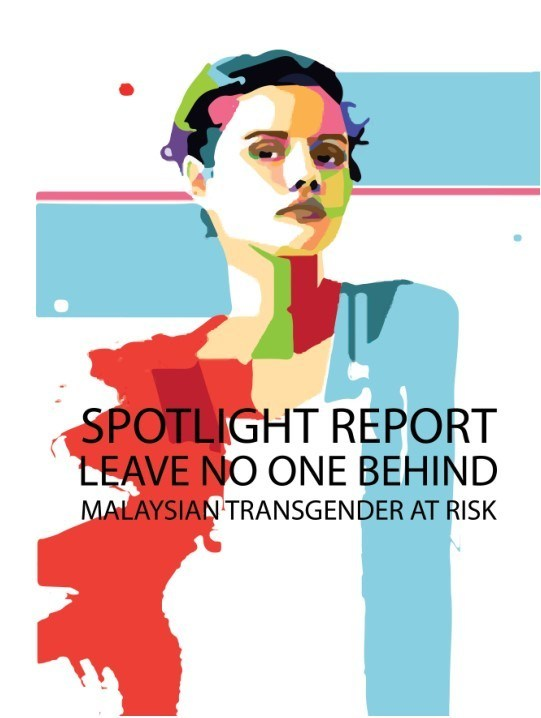 Report cover with red and blue paint stokes and a vectorized image of person with short hair