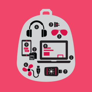 A Digital Nomad's Backpack (Infographic)