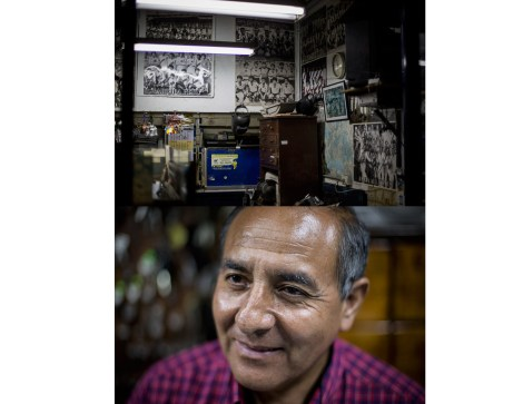 A businessmans store that has been converted into a shrine to Peruvian football. This man spoke nostalgically of the time when Peruvian football was at its height. The last time Peru was in the world cup was 1982.