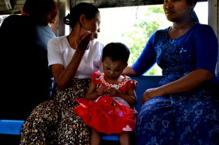 Families and tourists use the trains to get around Yangon