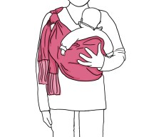 Now, open the rebozo and place your baby inside. His/her bottom should be held in the rebozo, while his arms and legs should come out.