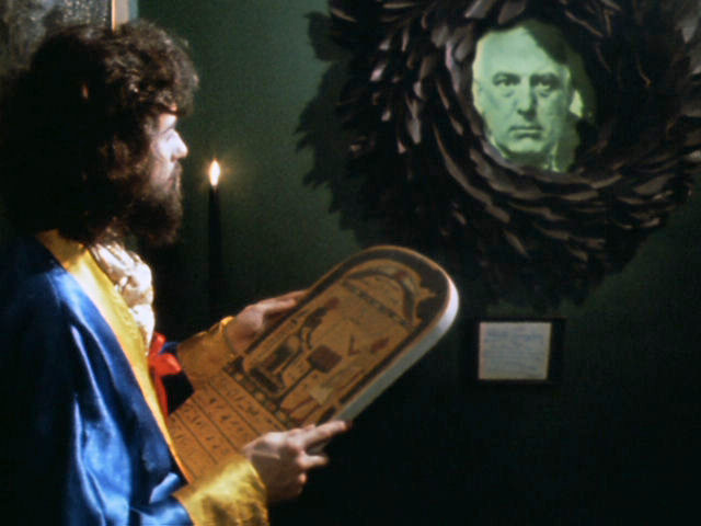 The unveiling of Crowley (That's Jimmy Page with the beard)
