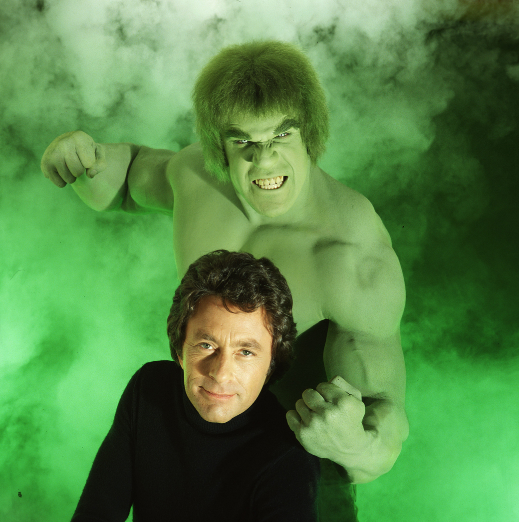 LOS ANGELES - MARCH 1:THE INCREDIBLE HULK cast member Lou Ferrigno as the 'Hulk' and Bill Bixby as David Bruce Banner. The television program originally aired on CBS from March 1978 to June 1982. (Photo by CBS via Getty Images) *** Local Caption *** Bill Bixby;Lou Ferrigno