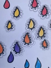 Raindrops coloured in different colours. Some have patterns drawn around them.