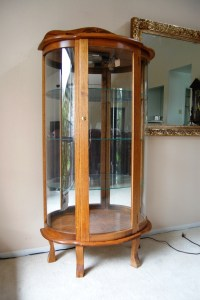 Lighted Oak Curio Cabinet  $30.00 | We Are Downsizing