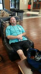 Mr. Jim meditating on today's Bible point.