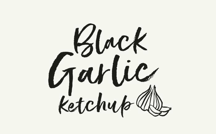 Black Garlic ketchup new brand and lable design