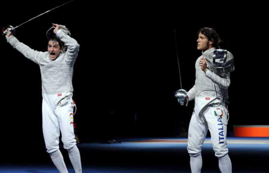 Jorge Pina vence a Aldo Montano en Pekín, Esgrima