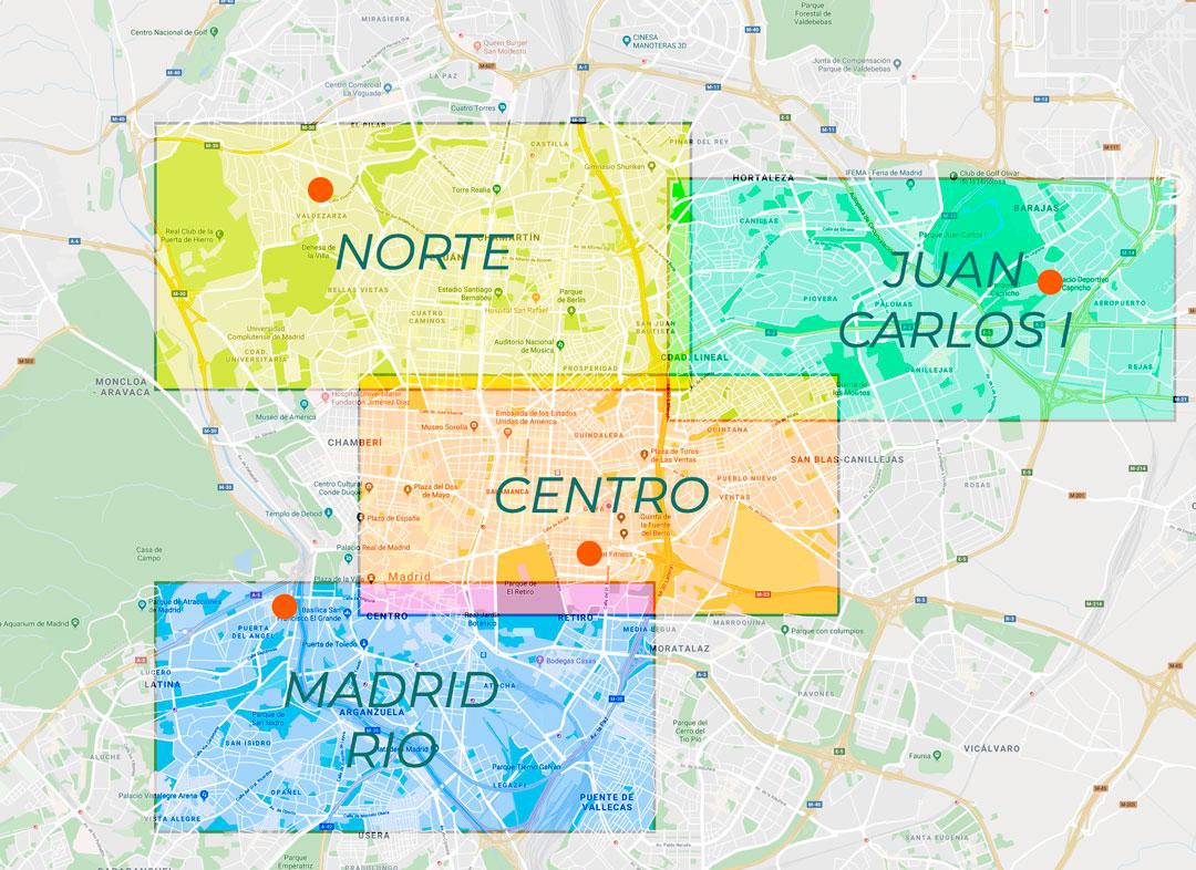 Mapa Interactivo con clases de esgrima en Madrid