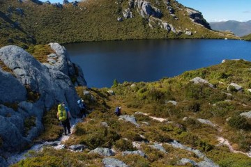 Outdoor Ethics, Stuart Nicol, lake, hikers, rocks, moss, trail
