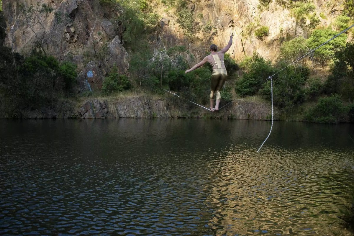 scott runacres, secret quarry, highline, over water, osprey adventure grant