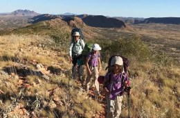 Training Kids Up For Multi-Day Hikes, Helen Cooper, girls, mum, hiking, backpacks, poles, sunhats, children
