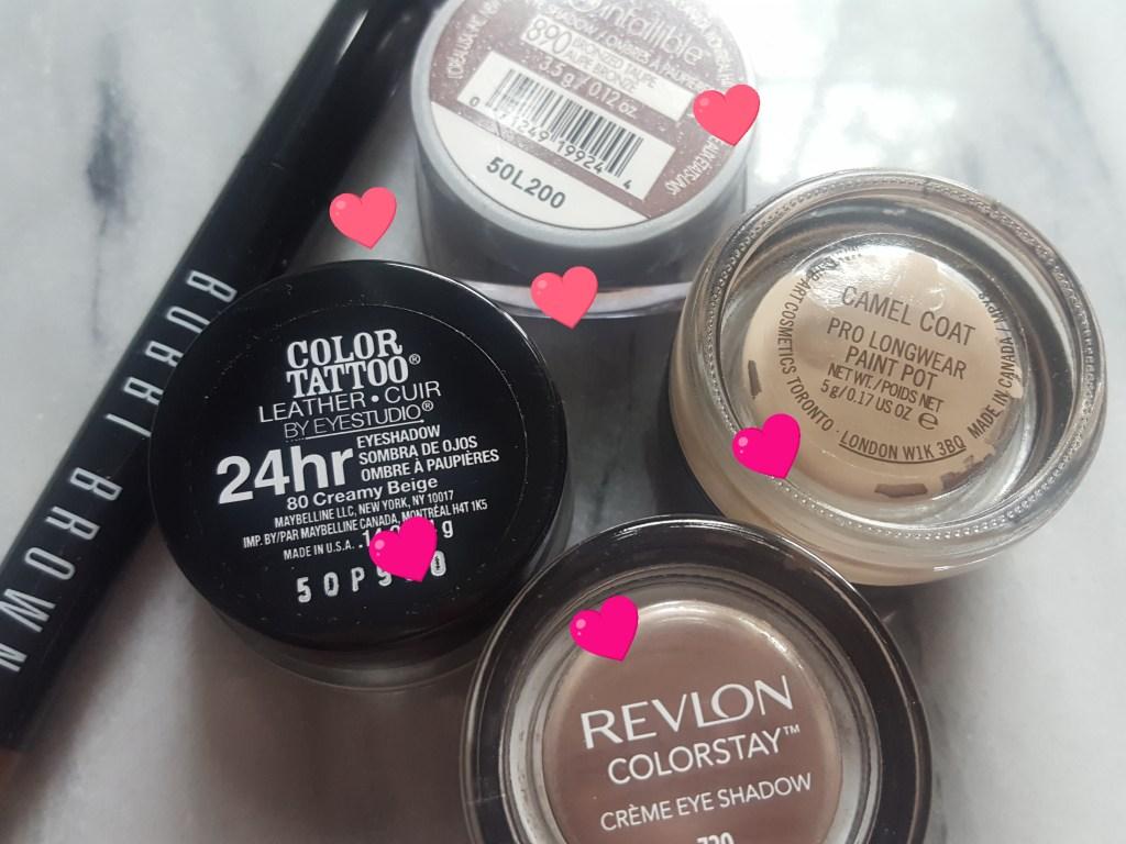 Revlon ColorStay Cream Shadow; Maybelline Color Tattoo 24hr Shadow; Bobbi Brown Long Wear Shadow Stick; MAC Pro Longwear Paint Pot; L'Oreal Infallible Cream Shadow