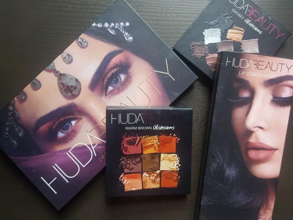 Overlay of Huda Beauty Desert Dusk Palette, Obsessions Palettes, Lip Contour Set