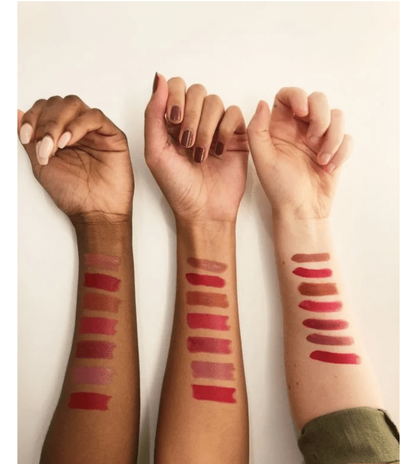 Made For All lipsticks swatched on three skin tones