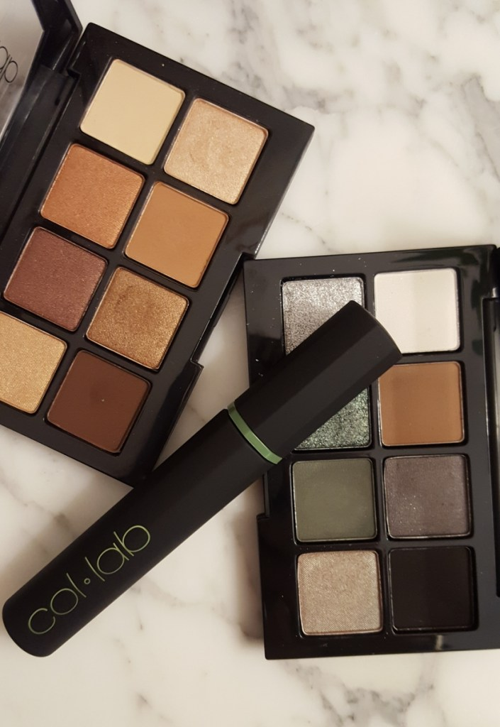 Flatlay featuring Col-lab Eyeshadow Palettes in Get Ready With Me & After Hours, and High-Rise Insane Length Mascara