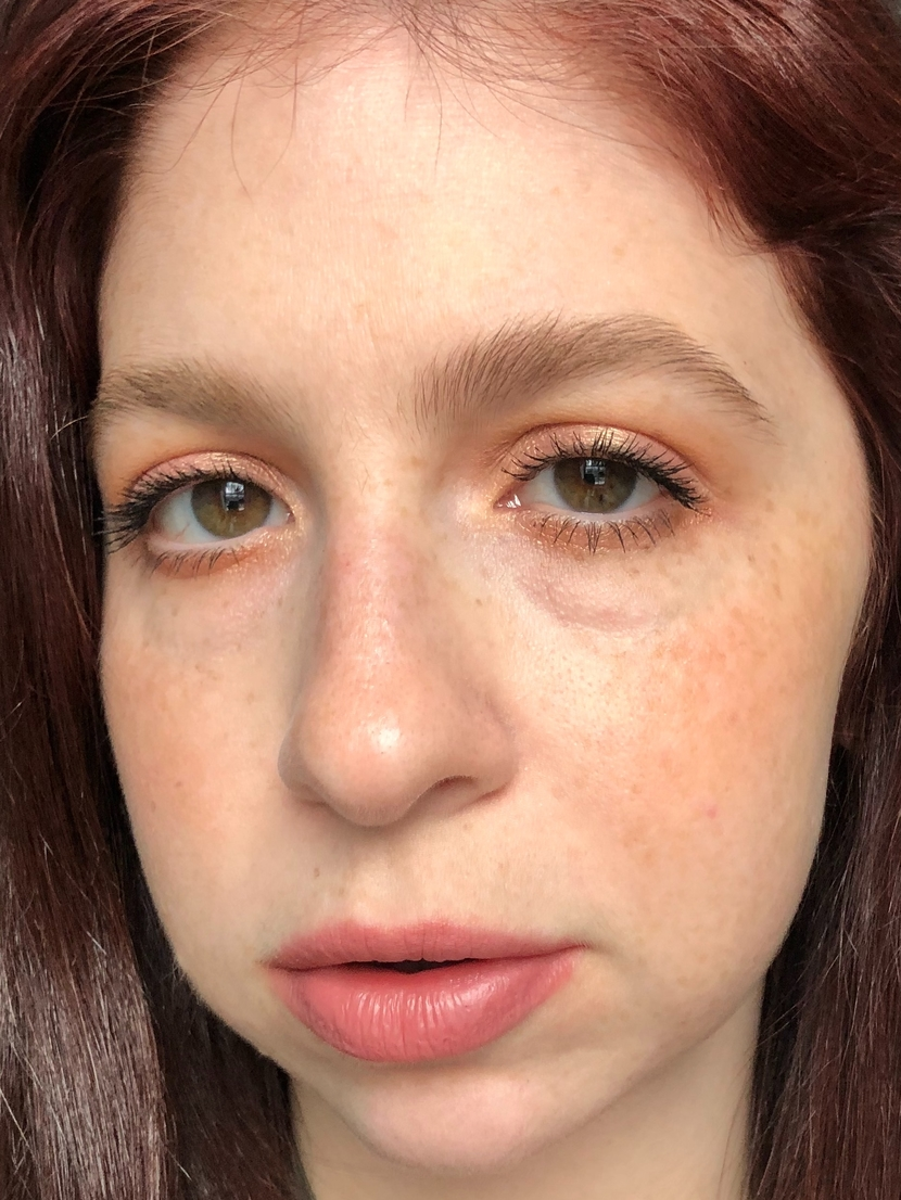 Up close of easy everyday look that I achieved using just six makeup products