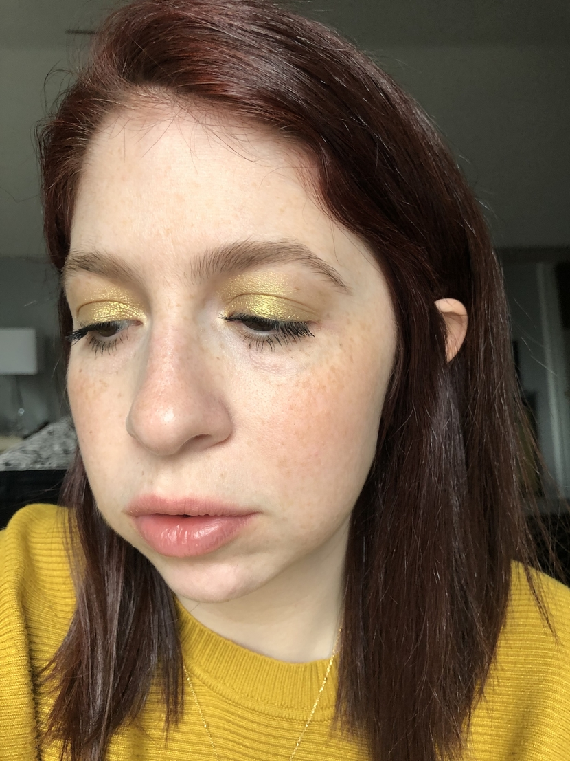 Up close detail of yellow eyeshadow look featuring Juvia's Place Saharan Palette