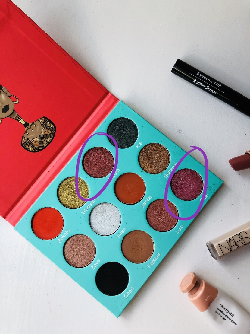 Eyeshadow shades used from the Juvia's Place Saharan Palette for colorful editorial look