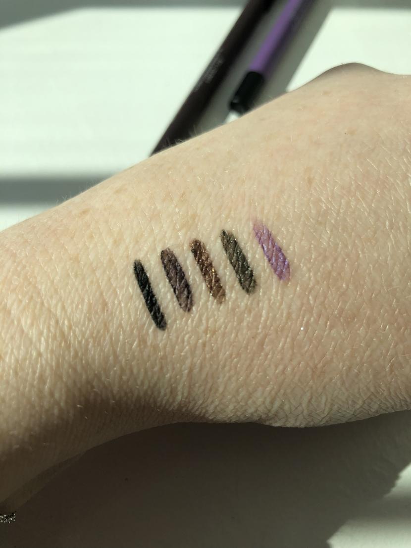 Swatches of Black, Aubergine, Bronze, Ivy & Purple L'Oreal Infallible Pro-Last Waterproof Eyeliner Pencils
