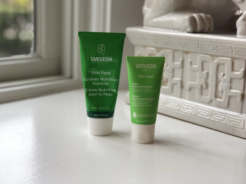 Weleda Skin Food Original in darker green tube. Weleda Skin Food Light in smaller lighter-green tube.