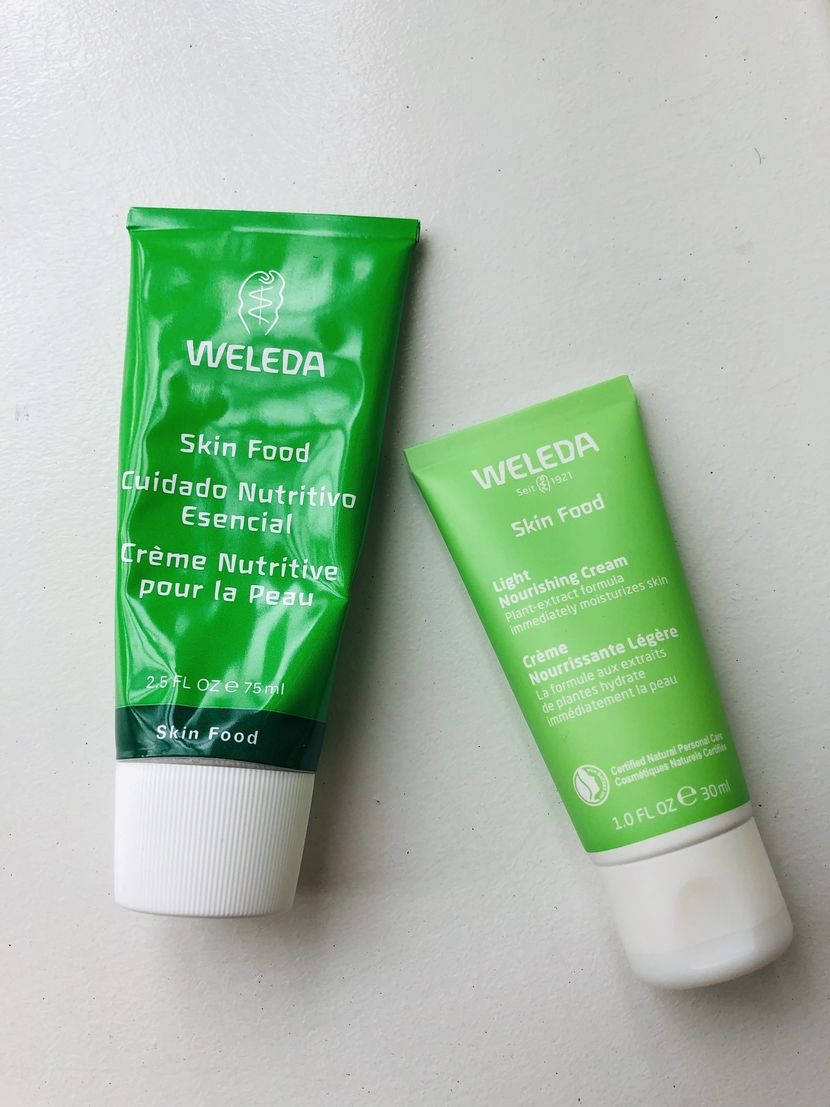 Weleda Skin Food Original (left), Weleda Skin Food Light (right).