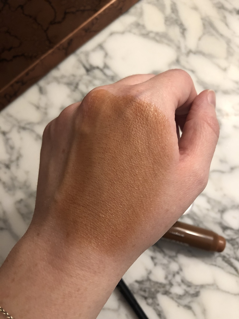 How I learned to use cream contour. Clinique Chubby Contour Stick in Curvy Contour, swatch blended out on hand.