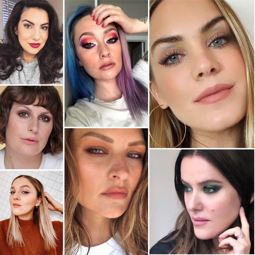 Collage of unproblematic beauty influencers, featuring Emily Noel, Marian Leonard, I Covet Thee, Sam Chapman, Jkissa, Lisa Eldridge & Harry Makes it Up