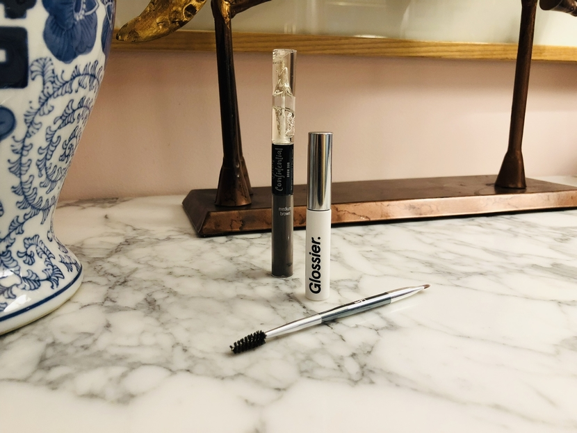 Glossier Boy Brow & Ardell Beauty Brow Confidential (IT Cosmetics spoolie brush also pictured)