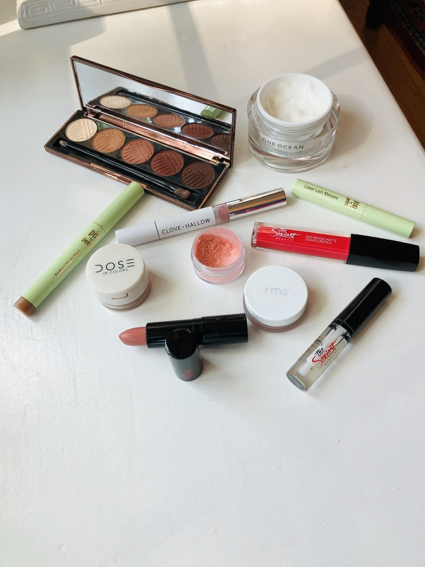 Variety of indie beauty products from The Sexiest Beauty, Moonglow, & Clove + Hallow