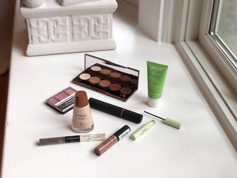 Flatlay containing cruelty-free makeup products