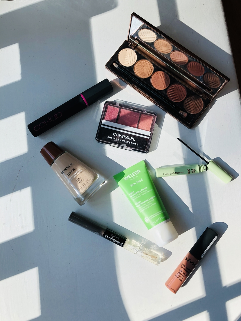 Flatlay with closer detail on cruelty-free makeup products