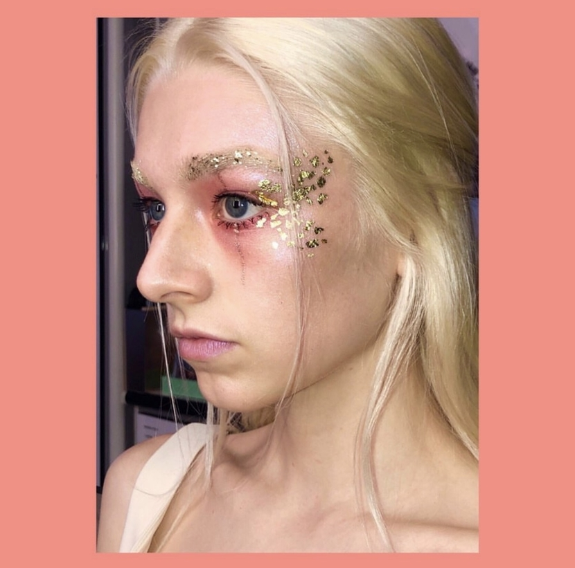 The character Jules from Euphoria with glitter makeup