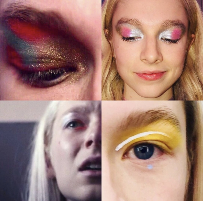 Different makeup looks on the character Jules from Euphoria