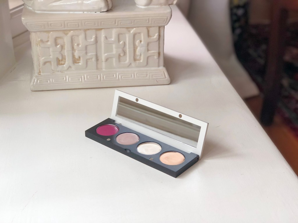 Custom palette from The Organic Skin Co, containing blush, eyeshadow, highlighter & concealer