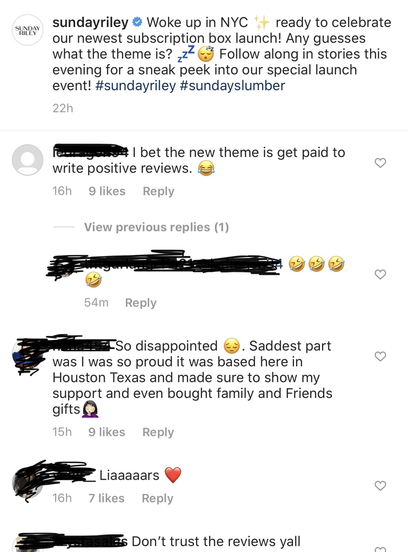 Instagram comments on Sunday Riley account after FTC settlement broke
