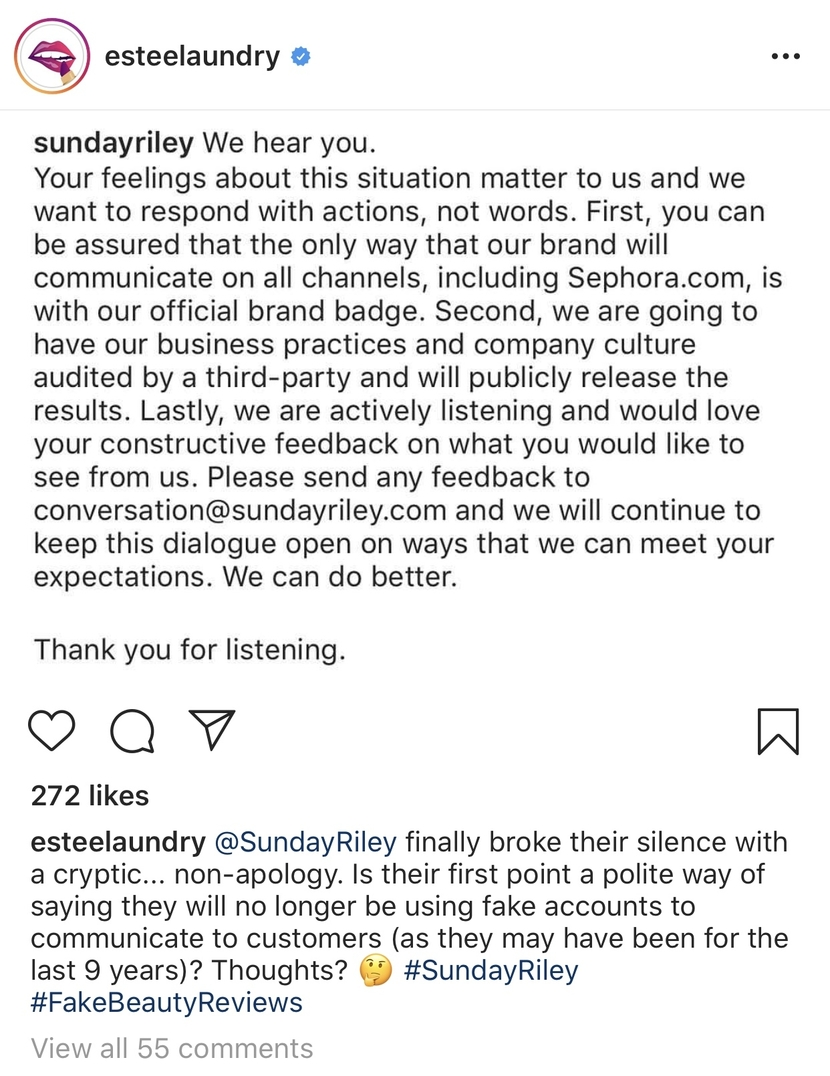 Estee Laundry post with Sunday Riley's response to fake review scandal