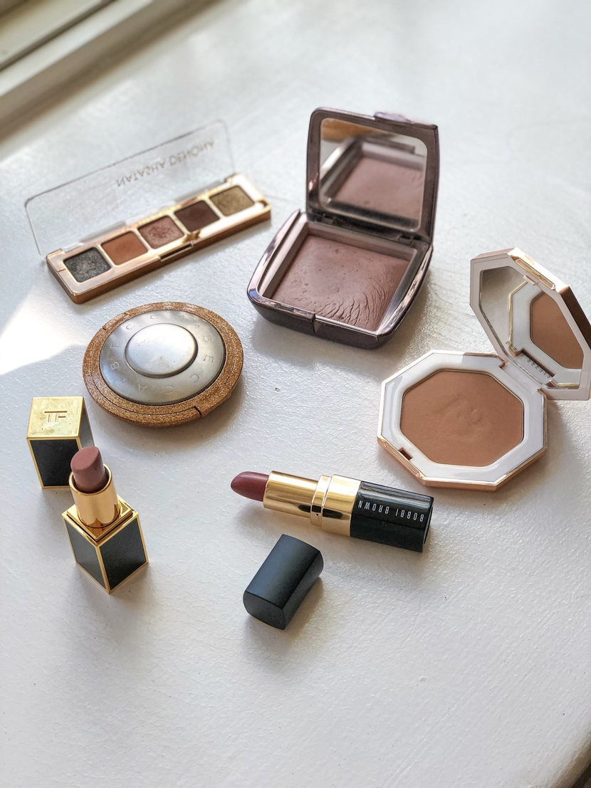 Flatlay showing luxury beauty products