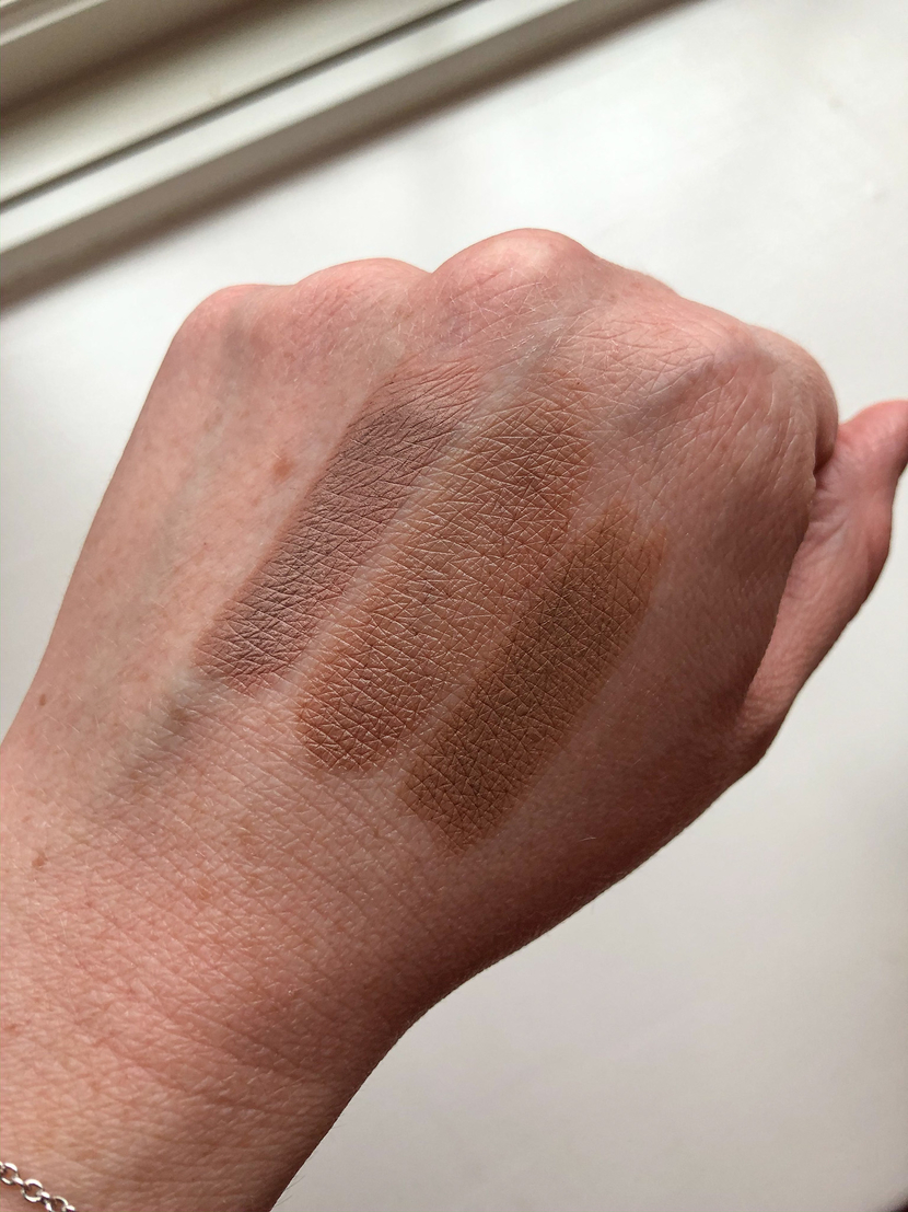 Swatches of my fave no-eyeshadow eyeshadows. From L to R: Laura Mercier Caviar Stick in Au Naturel, MAC Paint Pot in Groundwork, & Pixi Endless Shade Stick in Matte Cognac