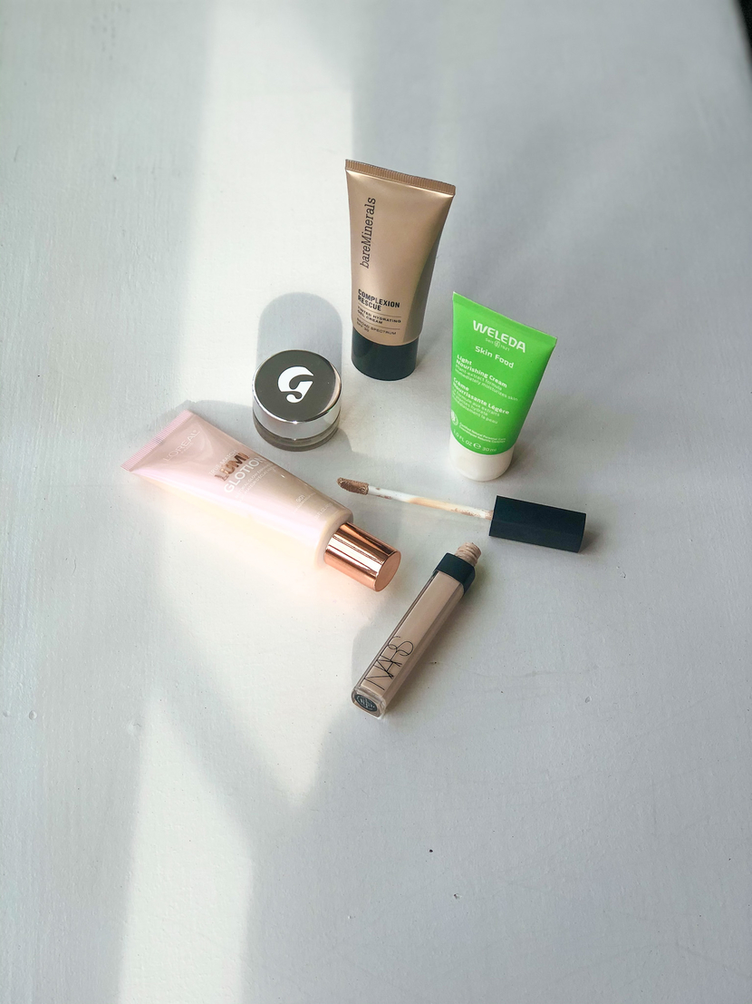 Products I use to achieve a light, barely-there base (flatlay)