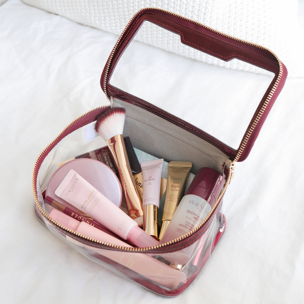 Wander Beauty products in travel case
