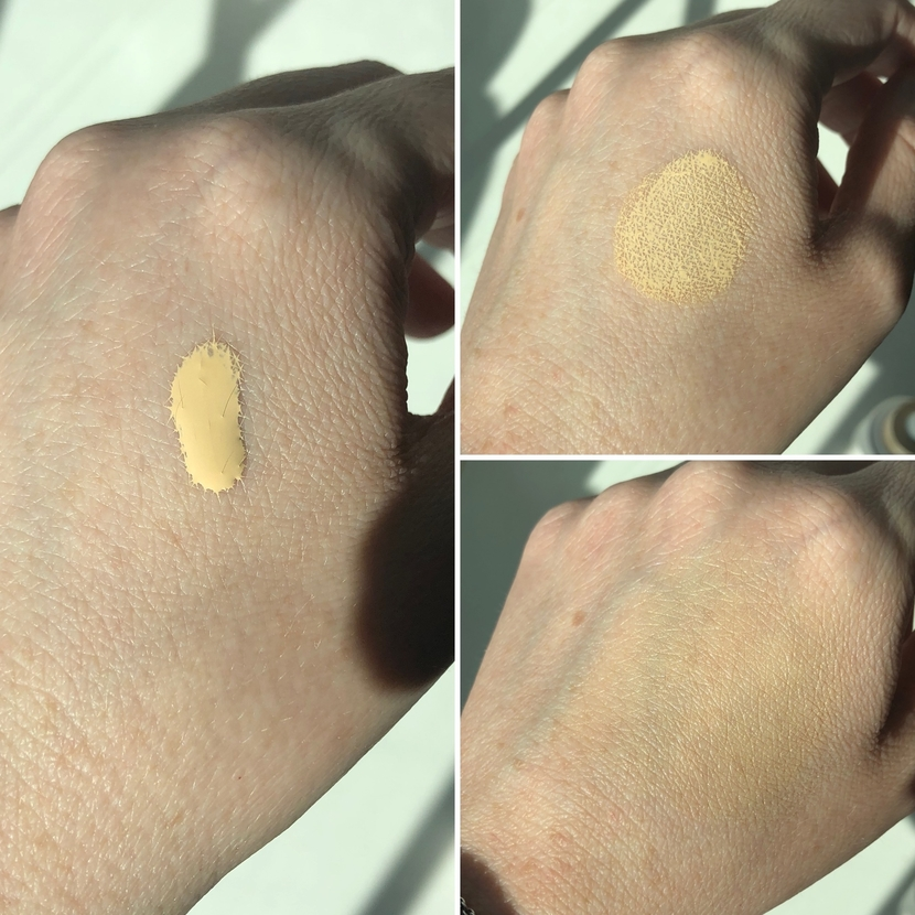 Showing runny, water-like consistency of Ilia Super Serum Skin Tint in the shade Tulum