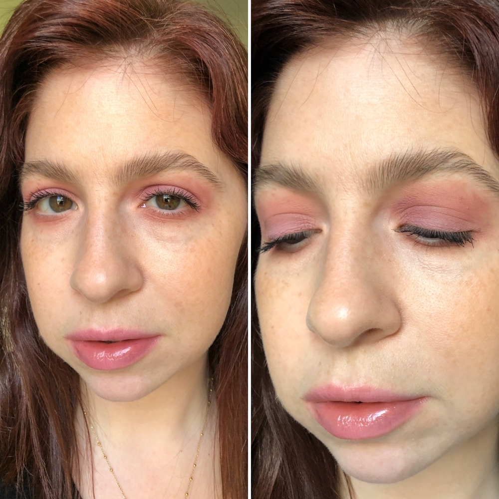 Makeup look #3 wearing lilac and pink tones