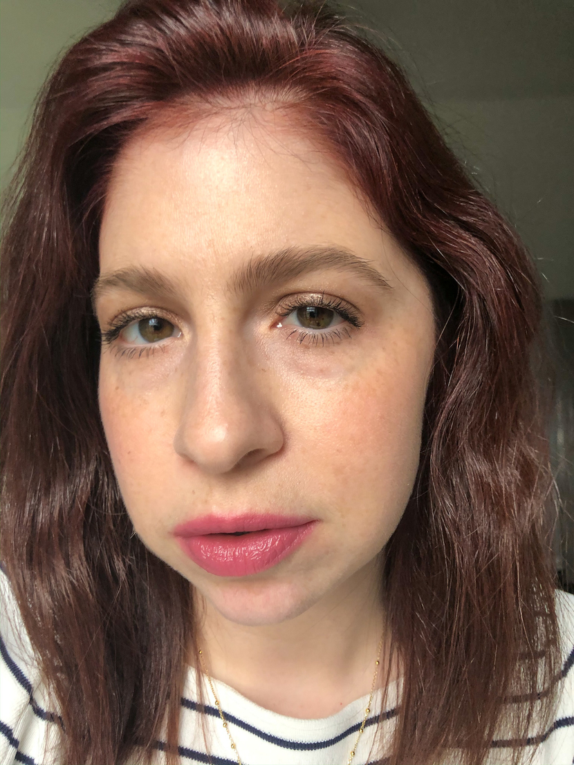 Wearing Bobbi Brown Crushed Lip Color in the shade Lilac