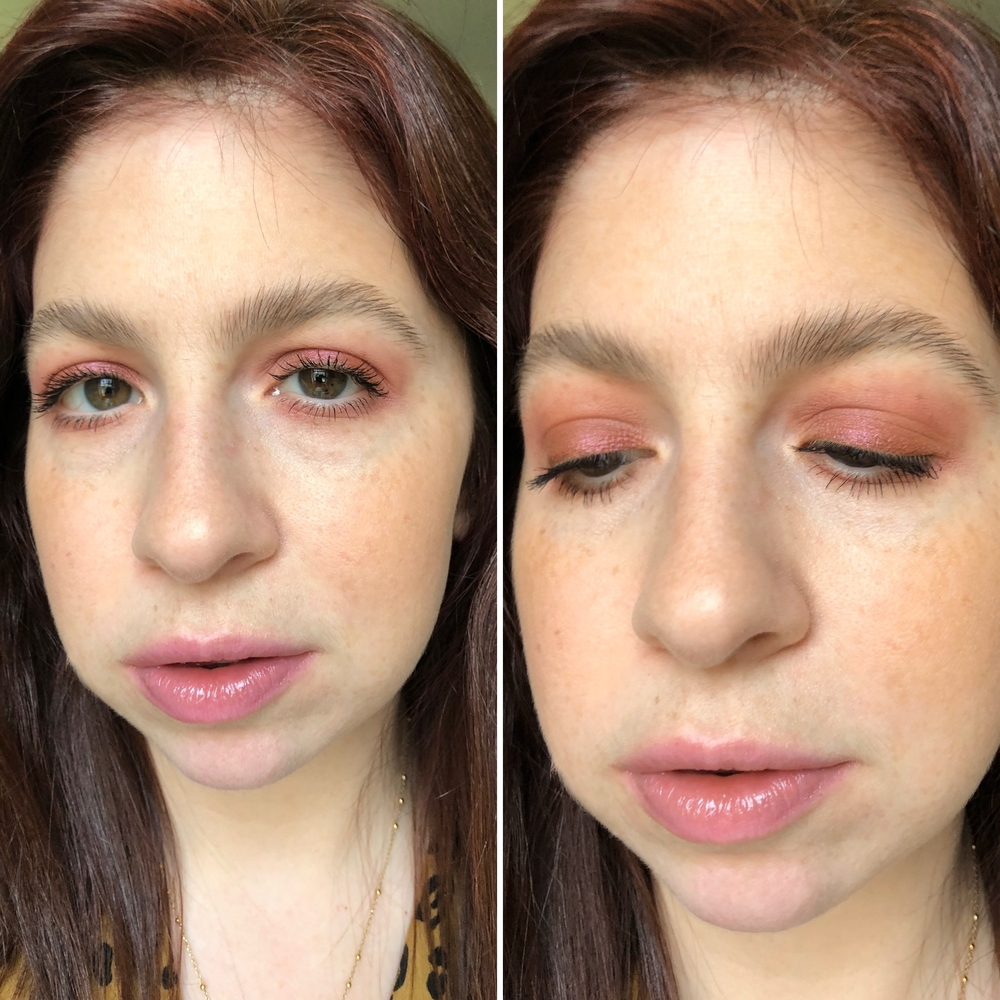 Makeup look #1 with warm burgundy tones