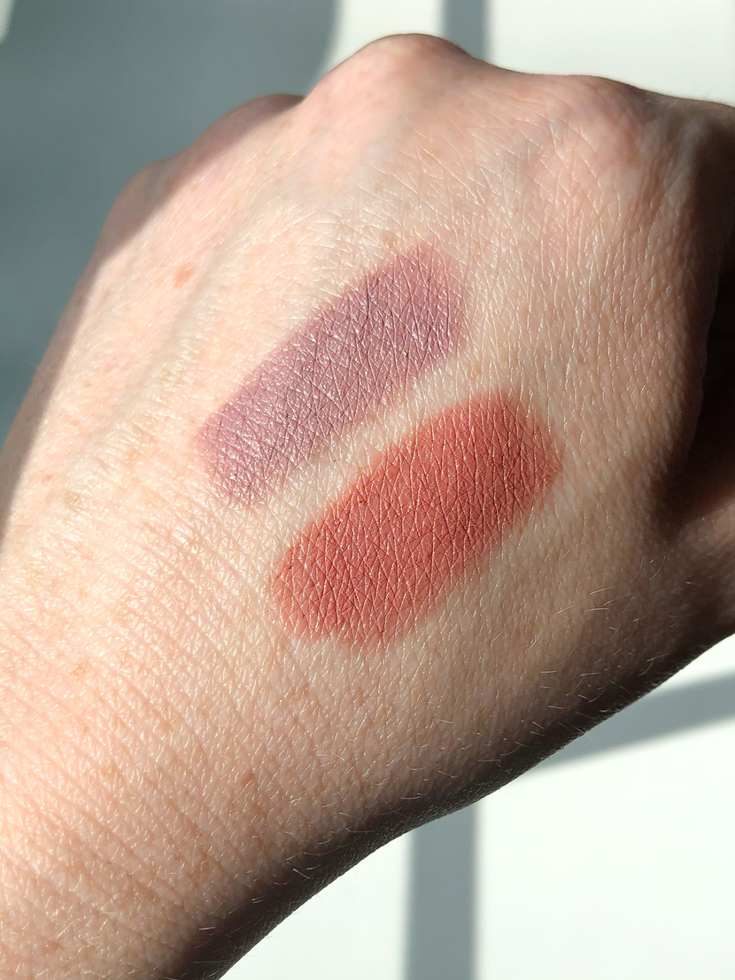 Swatches of ELF Tea Rose, a cool-toned lipstick, on top, and Charlotte Tilbury Pillow Talk Lipstick, a warm-toned lipstick, on bottom