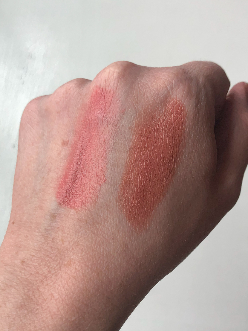 From left to right: ILIA Color Haze Multi-Use Pigment in Temptation; ILIA Multi-Stick in Ladybird swatched on the back of my hand