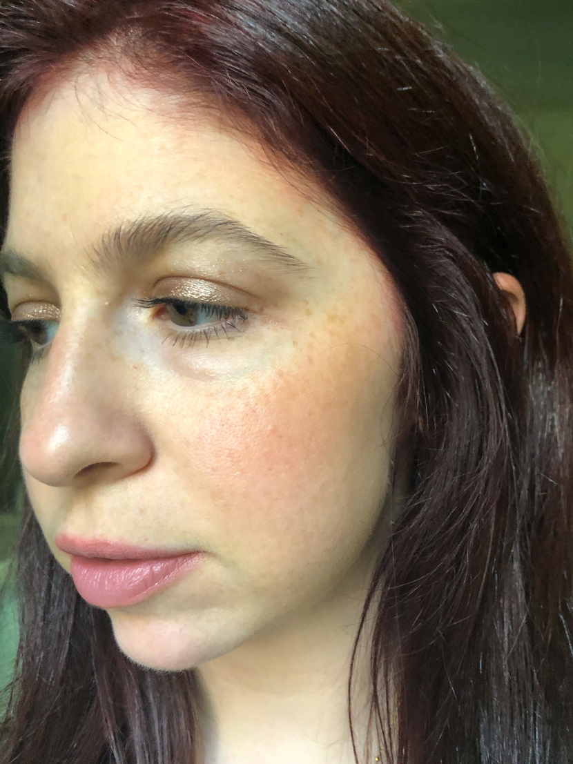 Color Haze Multi-Use Pigment in Temptation blended across my cheek - one of the ILIA cream blushes