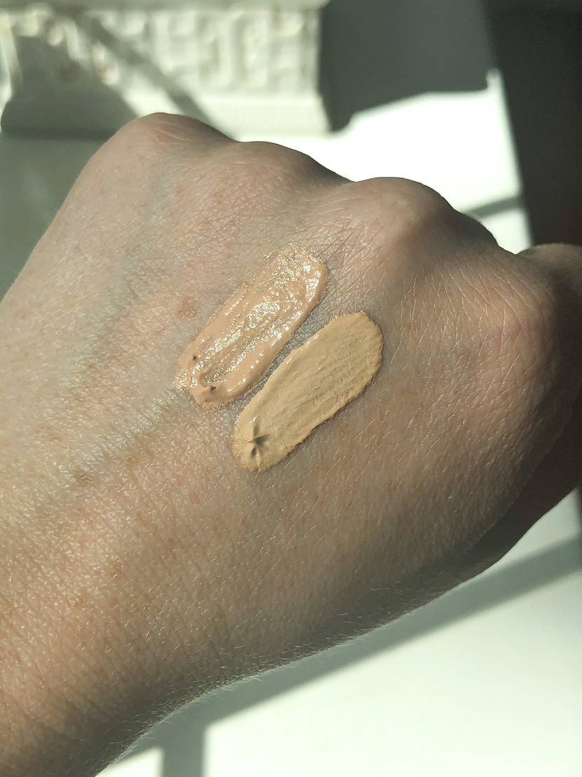 swatches of tinted moisturizers from luxury & drugstore brands